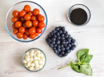 Delicious Red, White and Blueberry Balsamic Caprese in a jar